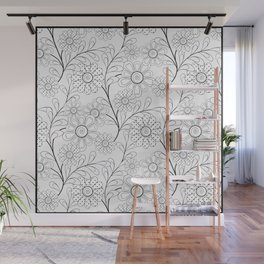 Floral pattern on a white background. Wall Mural