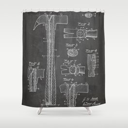 Hammer Patent - Handyman Art - Black Chalkboard Shower Curtain