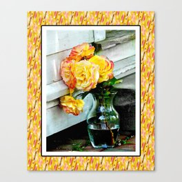 Good as Gold Roses in a vase with a patterned border Canvas Print