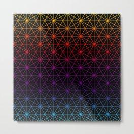 Sacred Geometry Pattern Grid - colorful rainbow Metal Print