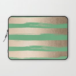 Painted Stripes Gold Tropical Green Laptop Sleeve