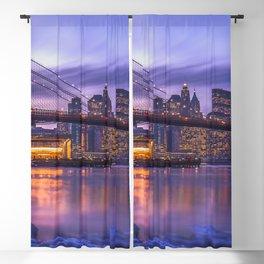 World Famous Brooklyn Bridge New York City Skyline USA Winter Frozen Shore Ultra HD Blackout Curtain