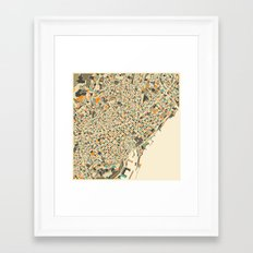 BARCELONA MAP Framed Art Print