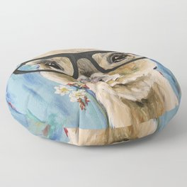 Cute Alpaca With Glasses Floor Pillow