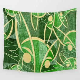 Midcentury Green Fox Wall Tapestry