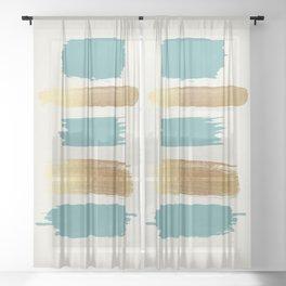 Brush Strokes (Teal/Gold) Sheer Curtain