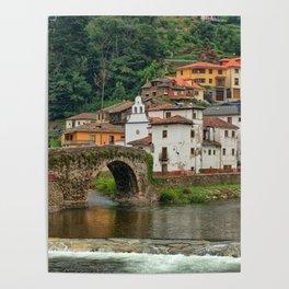 Stone Bridge Asturias Spain Poster