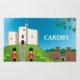 Cardiff, Wales - Skyline Illustration by Loose Petals Rug
