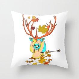 Caribou leaf autumn Throw Pillow