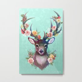 Deer of Spring Metal Print