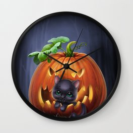 black kitten in a pumpkin Wall Clock