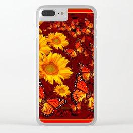 Golden Yellow Sun flowers & Orange Monarchs Brown Art Clear iPhone Case