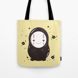 Spirited Away No Face Kawaii With Soot Sprites Tote Bag