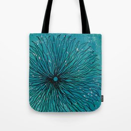 Flower on turquoise Tote Bag