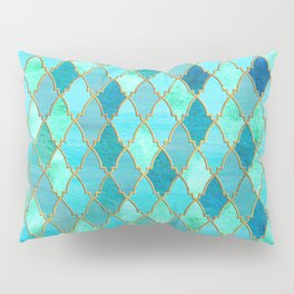 Aqua Teal Mint and Gold Oriental Moroccan Tile pattern Pillow Sham