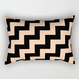 Black and Deep Peach Orange Steps RTL Rectangular Pillow