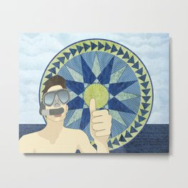 Snorkeling with Mariner's Compass Metal Print