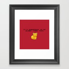 ITS DANGEROUS TO GO ALONE Take This Cat Framed Art Print