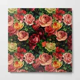 Vintage & Shabby chic - floral roses flowers rose Metal Print