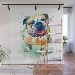 Watercolor Bulldog Wall Mural
