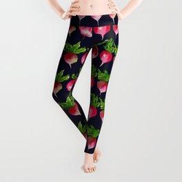 Watercolor radish seamless pattern Leggings