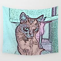 comic Wall Tapestries featuring Comic CAT by MehrFarbeimLeben