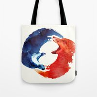 drink Tote Bags featuring Ying yang by Robert Farkas