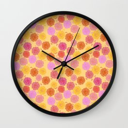 Hibiscus Hawaiian Flowers in Pinks and Corals on Yellow Wall Clock