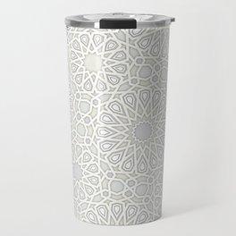 White Moroccan Tiles Pattern Travel Mug