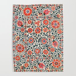 Shakhrisyabz Suzani  Uzbekistan Antique Floral Embroidery Print Poster