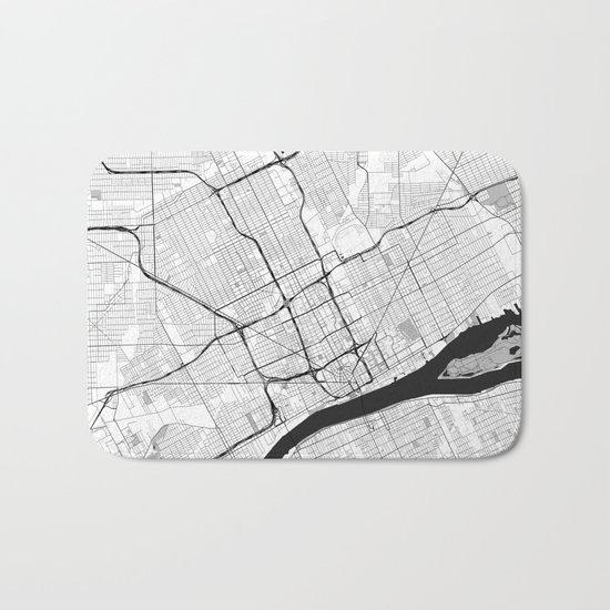 Detroit Map Gray Bath Mat