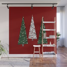 Folk Art Christmas Trees Red Green White Grey Gray Chalk shaded Wall Mural