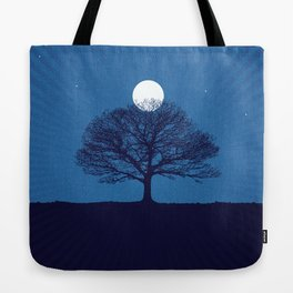 Moonrise of a winter tree Tote Bag
