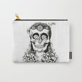 Flowered Skull - Nature Inspired - Tribal  Carry-All Pouch