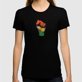 Kurdish Flag on a Raised Clenched Fist T-shirt