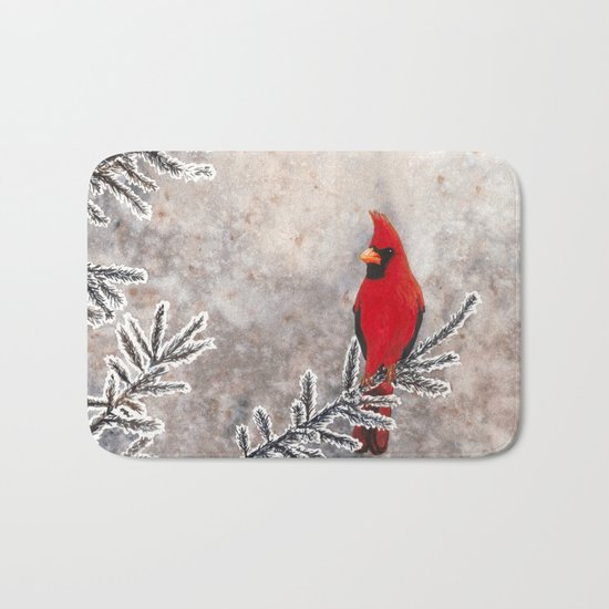The Red Cardinal in winter Bath Mat