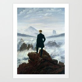Wanderer above the Sea of Fog Painting by Caspar David Friedrich Art Print