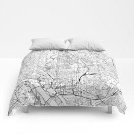 Washington D.C. White Map Comforters