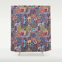 Mosaic Tiles Mid Eastern Art Collage Shower Curtain