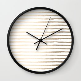 White Gold Sands Thin Stripes Wall Clock