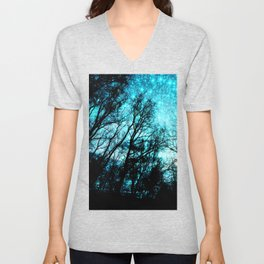 black trees turquoise teal space Unisex V-Neck