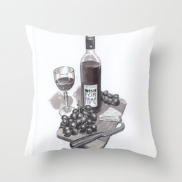 Wine & Cheese Throw Pillow