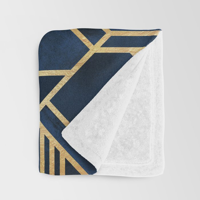 Art Deco Fancy Blue Throw Blanket