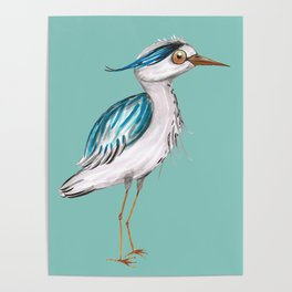Funny blue heron Poster