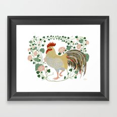 Rooster and morning glory Framed Art Print