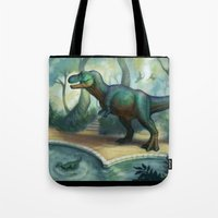 trex Tote Bags featuring Trex pool by KateArts