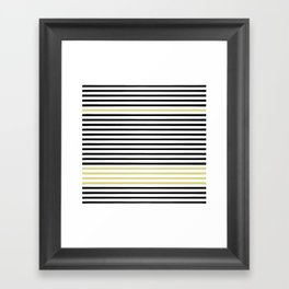 Black and White and Gold Stripes (Striped Pattern) Framed Art Print