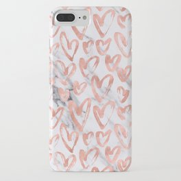 Hearts Rose Gold Marble iPhone Case