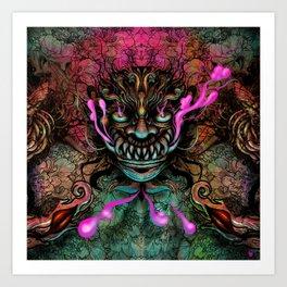 Japanese Dragon Mask Art Print