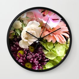 Rainbow Colors Floral Bouquet Wall Clock